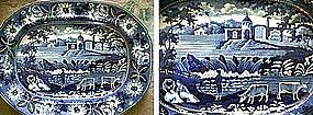 Large Staffordshire Blue/White Platter; c 1820