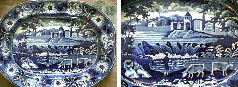Large Staffordshire Blue/White Platter; c 1820