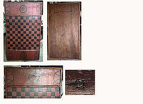 Paint Decorated Gameboard; Mid 19th C