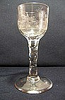 Facet Stem Wine Glass, Rare Fox Hunting Scene; C 1780