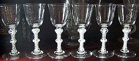 Antique Wine Glasses Set of 6 Opaque Twists C 1765