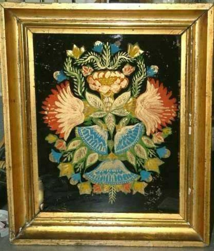 Striking  and Vibrant Tinsel Painting, C 1860