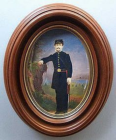 Watercolor of Civil War Officer at Encampment  c1865