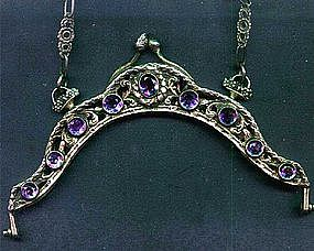 Amethyst Jeweled and Silver Purse Frame 19th C