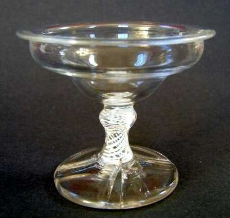 English Glass Opaque Twist Sweetmeat  C 1760