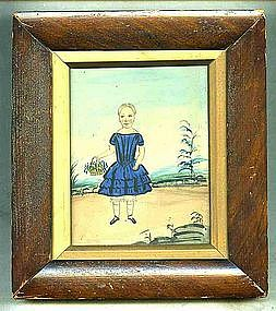 Wonderful Folky Watercolor of Young Girl, c 1836