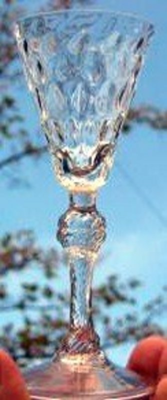 Unusual English Balustroid Wine Glass;  c 1740