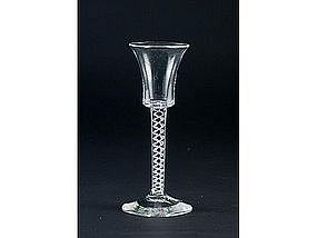 Gorgeous English Mercury Twist Wine Glass   c 1755