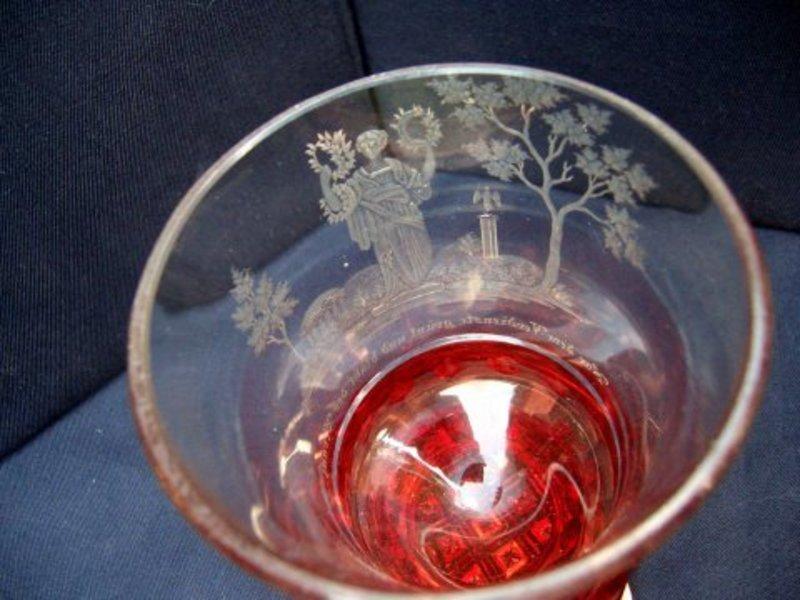 Stunning Flashed and Engraved Bohemian Beaker c1850