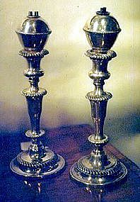 Rare Old Sheffield Peg Lamps and Candlesticks; c1820