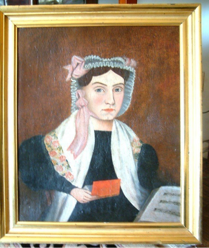 Incredible American Folk Portrait of Young Woman c1840