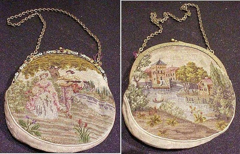 Rare Figural Child's Petit Point Purse c 1880