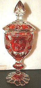 Dated Flashed Bohemian Covered Goblet  c 1845