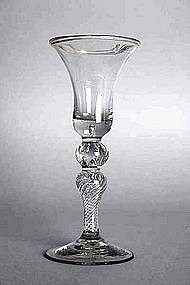 Rare Multiple Spiral Air Twist Wine Glass c 1760