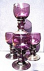 Rare Set (4) of Amethyst English Roehmer Glasses c1790