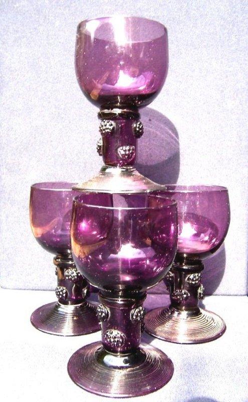Rare Set (4) of Amethyst English Roehmer Glasses c1790
