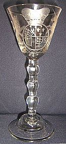 Spectacular Newcastle Light Baluster Wine Glass c 1745