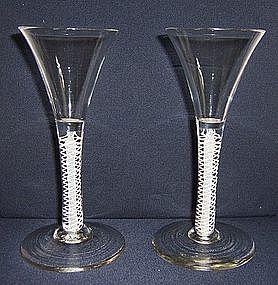 Elegant Pair of Opaque Twist Wine Glasses; c 1765