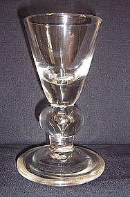 Rare Heavy Baluster Dram Glass, c 1705
