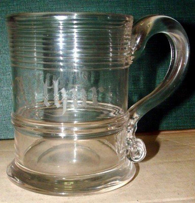18th Century Glass Mug with Engraving