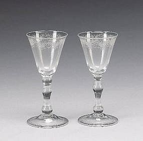 Antique Wine Glasses, Light Balusters, Pair  c  1750