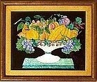 Charming American Folk Art Tinsel Painting  c1890