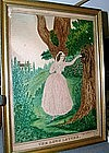 Wonderful American Folk Art Watercolor,  Dated 1846