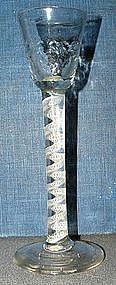 Opaque Twist English Cordial Glass  c 1765