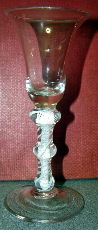 A Fine Knopped Opaque Twist Glass  c1760