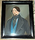 Striking American  Folk Art Pastel Portrait  c1840