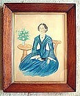 Watercolor on Paper American Folk Art Portrait c 1840