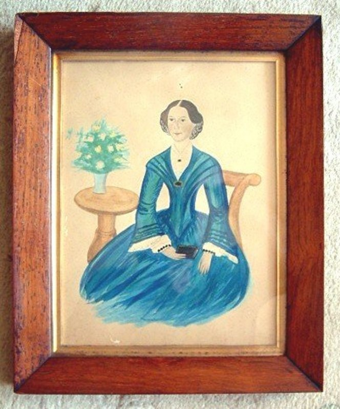 Watercolor on Paper American Folk Art Portrait c 1840