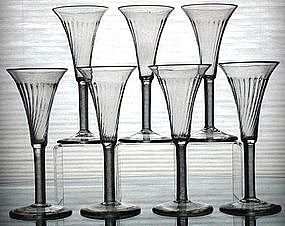Rare English Air Twist Wine Glasses, Set of 6  c1755