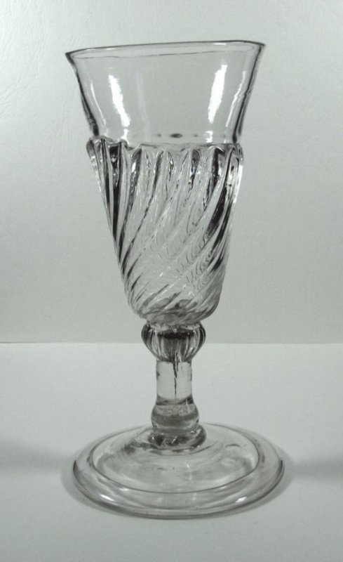 English Gadrooned Ale Glass, Very Rare  c1690