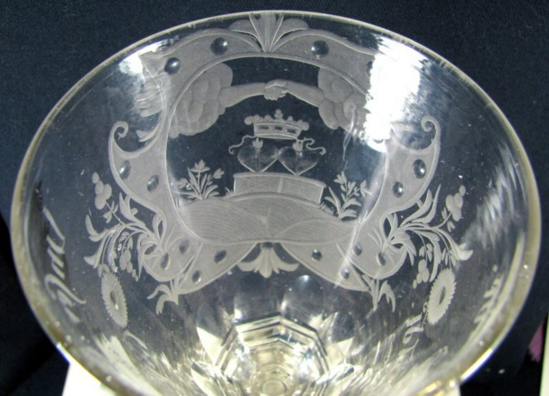 A Large German Friendship Glass Wine Goblet   c1740