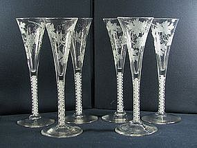 A Set of 6 Antique English Tall Wine Flutes  c1765