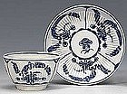 Dr. Wall Worcester Tea Bowl and Saucer  c1770