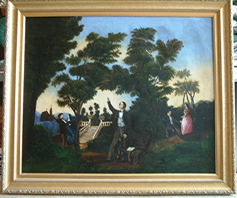 Important Folk Art Temperance Painting Neal Dow c1840