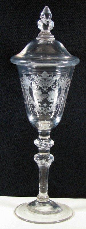 Jacob Sang Engraved NLB Friendship Wine Glass  c1760