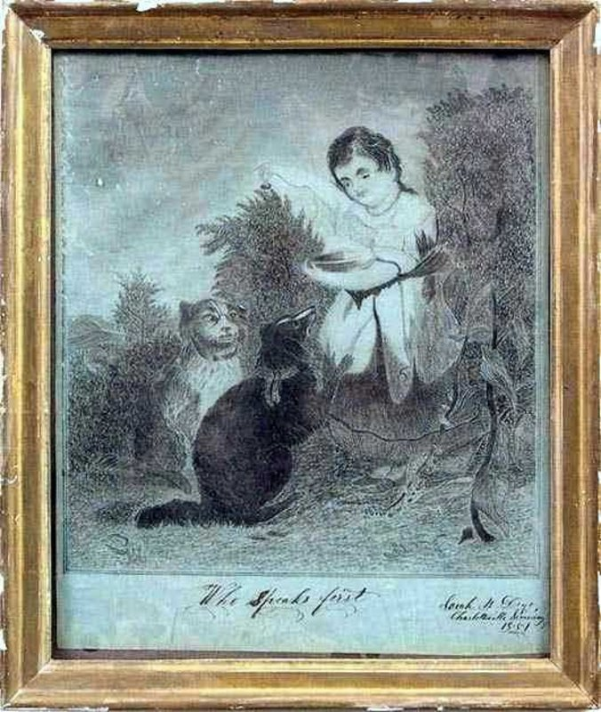 Charming Rare American Folk W/C of Girl and Dogs c1851