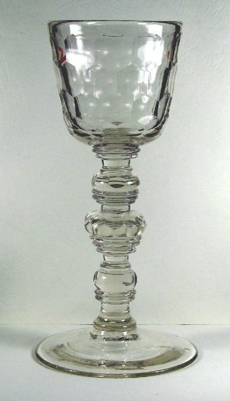 Large Bohemian Antique Glass  Baluster Goblet  c 1720