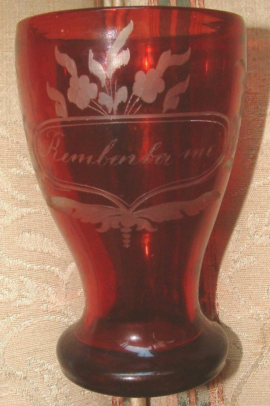 Sentimental Flashed Glass Drinking Mug  c1870