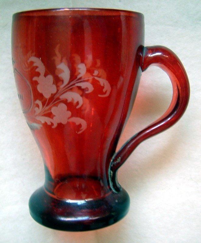 Sentimental Flashed Glass Drinking Mug  c1870
