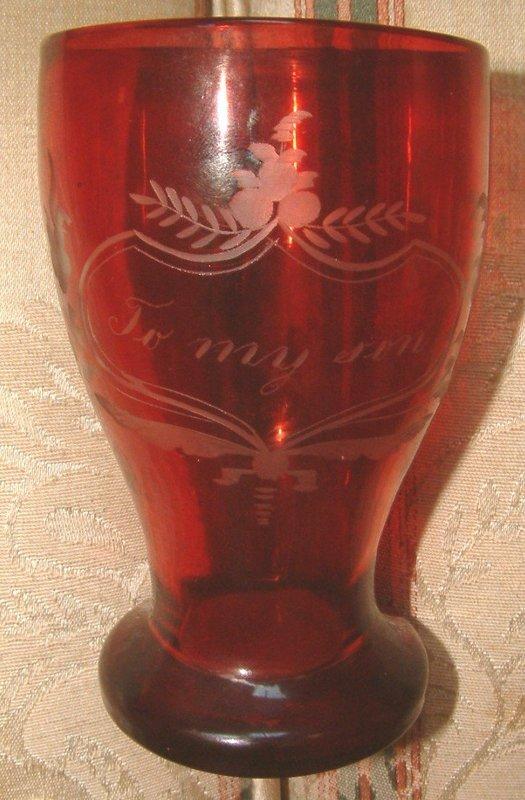 A Red Flashed Glass Memento Handled Mug  c 1870