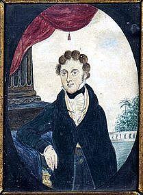 Rare Southern Small Watercolor Portrait  c1824