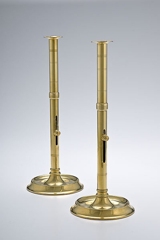 Tall Brass Pulpit Candlesticks  c1820
