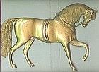 Antique Gilded Brass Horse Plaque