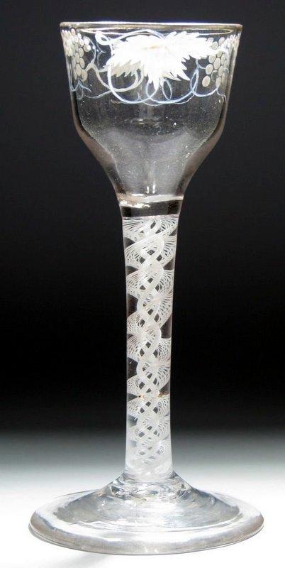 Beilby Enameled Gilded Wine Glass DSOT  c1770