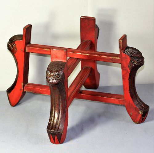 Chinese carved Foo Lion & lacquer on wood folding Display Stand