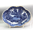 18C. Chinese Export Nanking Blue & White Porcelain Spoon Rest/tray